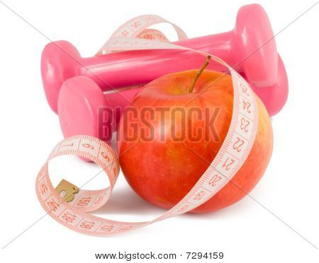 Two Dumbbells, Apple And Measuring Tape