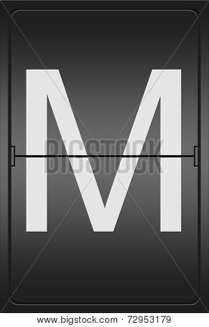 Letter M On A Mechanical Leter Indicator