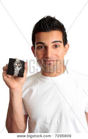 Man Advertising Chronograph Watch