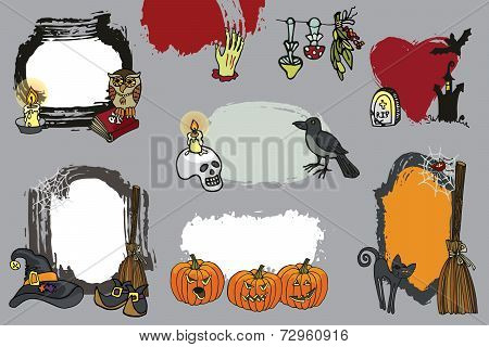 Halloween spooky lebel set.Doodles Design template