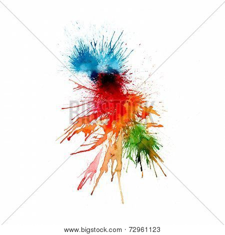 Abstract watercolor background - splashes, drops on paper or canvas - vector illustration