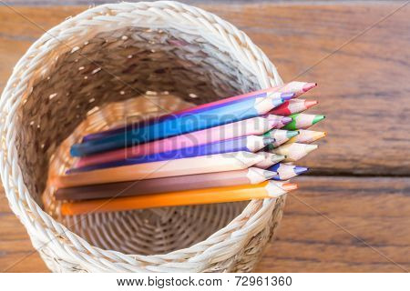 Group Of Multi Colored Pencils In Craft Box