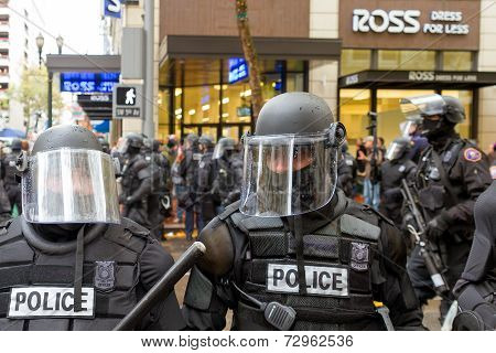 Portland Police In Riot Gear Closeup