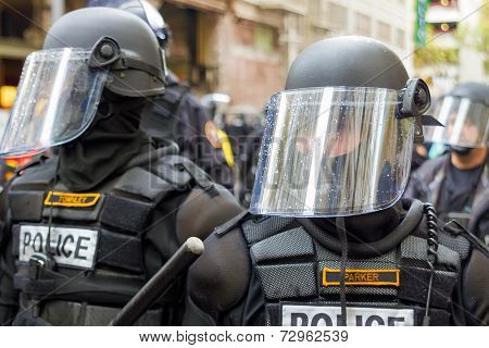 Police In Riot Gear Closeup
