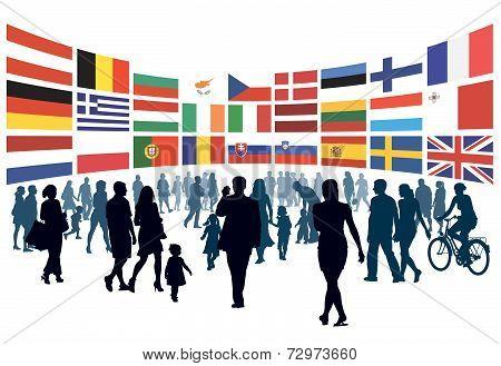 European People Walking