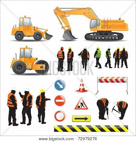 Workers and machines for road construction