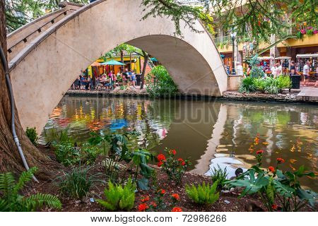 Evening San Antonio River Walk Bridge