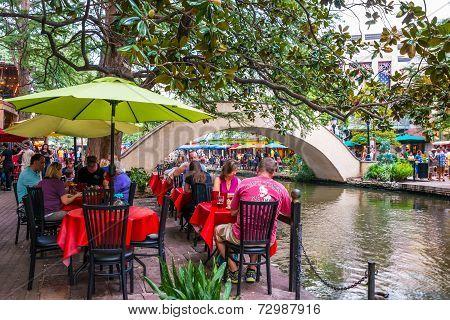 Tourists Dining On River Walk San Antonio Texas