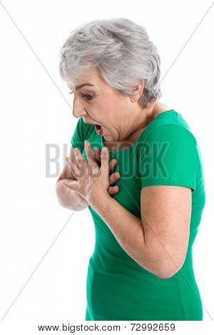 Senior woman feeling ache in her lung