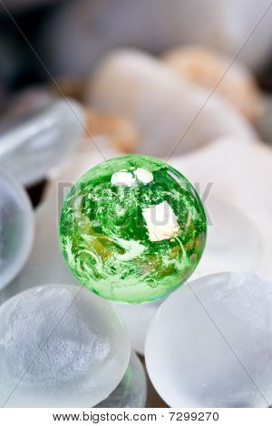 Green Earth With Glass Stones