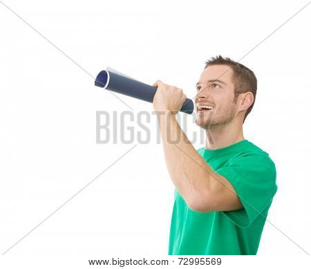 Handsome man speaking and raising attention in a speaking-tube
