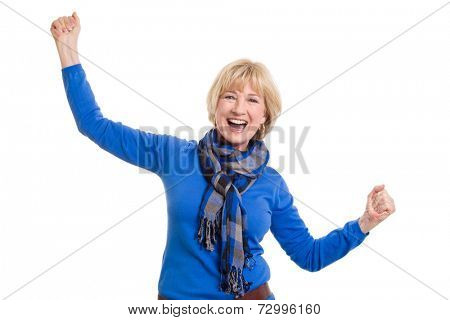 Happy senior woman posing on white background