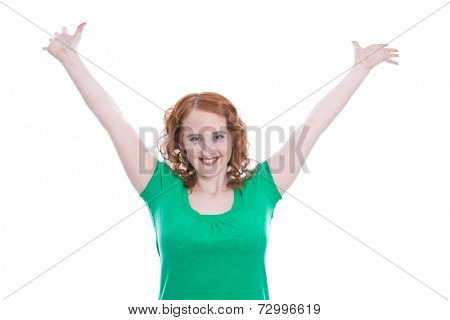 Redheaded girl delirious with joy - isolated on white