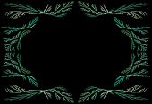 Leafy teal or green fractal frame or border with black copy space. poster