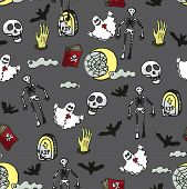 Halloween doodles seamless pattern or background about death, cemetery.Hand drawing spooky elements in style of children's drawing.For fabric,background,backdrop,Wallpaper,wrapping paper.Vector poster