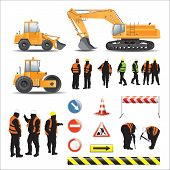 Set of road under construction. Machines, workers, signs and banners poster