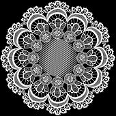 illustration a circular pattern with flowers from lace poster