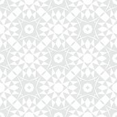 White and silver geometric texture in art deco style with abstract stars and snowflakes for Christmas and holiday decor or wedding invitation background. Seamless vector pattern for winter fashion poster
