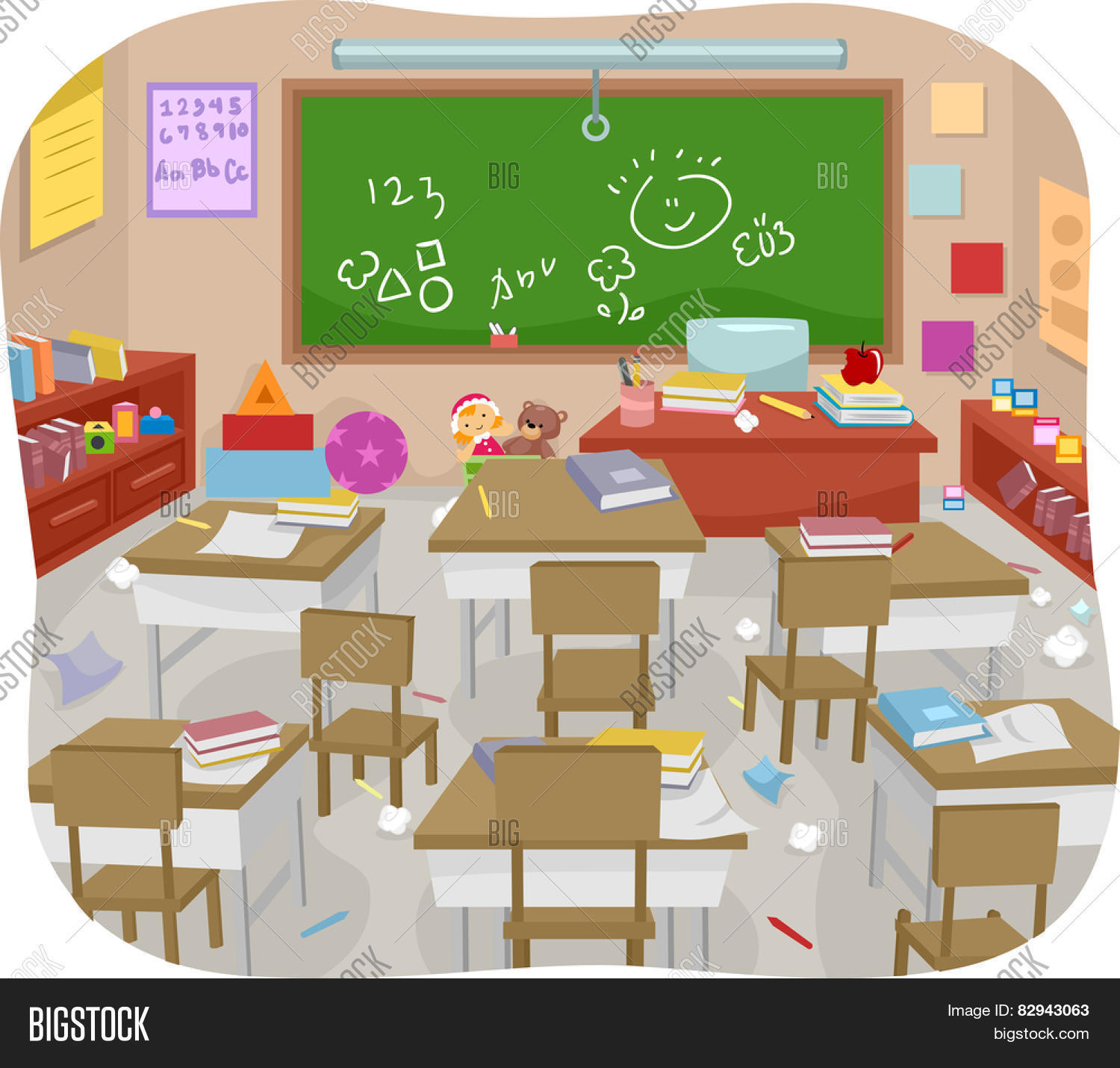 Clipart Decoration Classroom ~ Illustration messy vector photo free trial bigstock