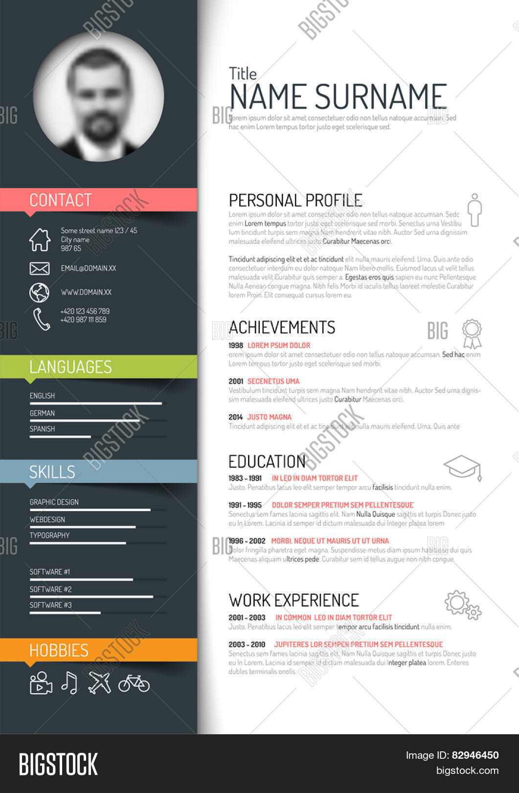 Vector Minimalist Cv Vector  Photo Free Trial  Bigstock