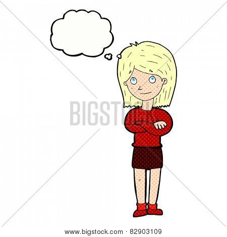 cartoon friendly girl rolling eyes with thought bubble