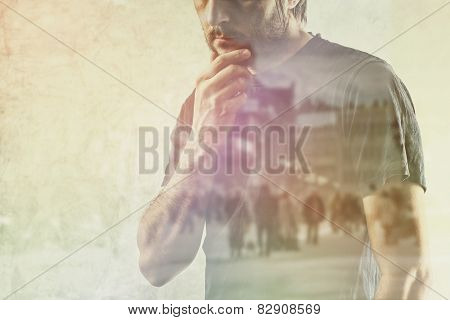 Conceptual Composite Image of Adult Lonely Man Remembering Something from his Past Hand on Chin. poster