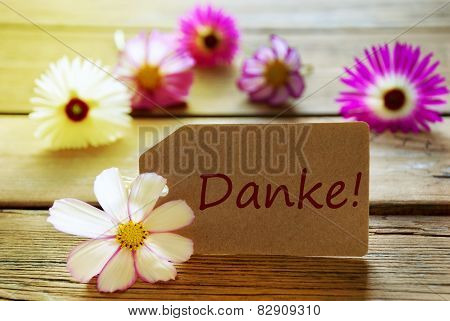Sunny Label With German Text Danke Means Thank You With Cosmea Blossoms