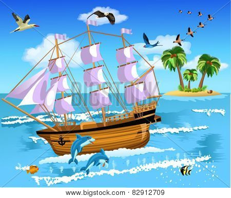 ship floating on the sea