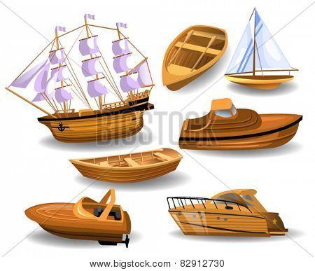 set of wood boats