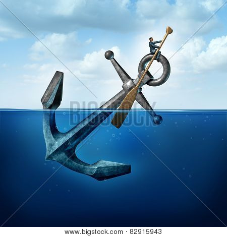 Positive thinking and resilience business concept with a person on a floating anchor rowing with a paddle as a symbol of moving forward despite restrictions and challenges. poster