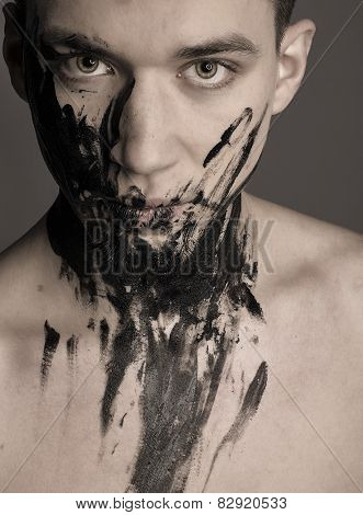 Dramatic Fashion Art Portrait Of Man In Black Paint