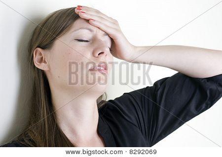 woman with hangover