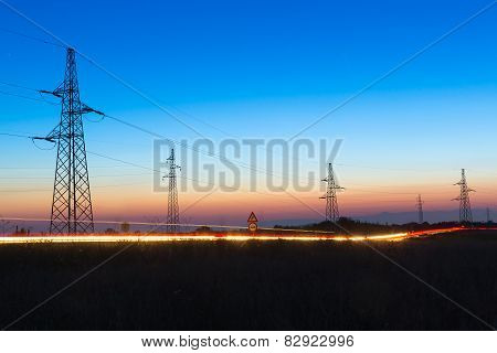 Electrical Powerlines At Dusk