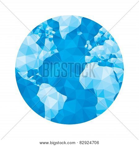Globe map - abstract geometric vector illustration in blue colors. Globe polygonal illustration. Des