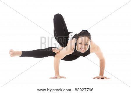 Yogi Female In Yoga Asana Parivritta Eka Pada Koundinyasana