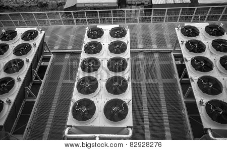 Monochrome Photo Of Long Rows Of Air Conditioning Systems