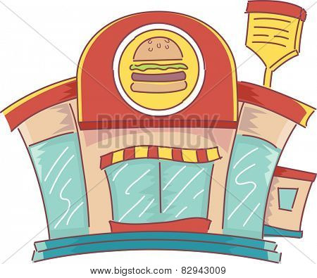 Illustration of the Facade of a Fast Food Restaurant