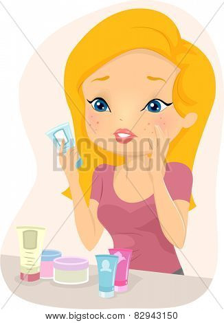 Illustration of a Girl Trying to Figure Out What Caused Her Acne Breakout