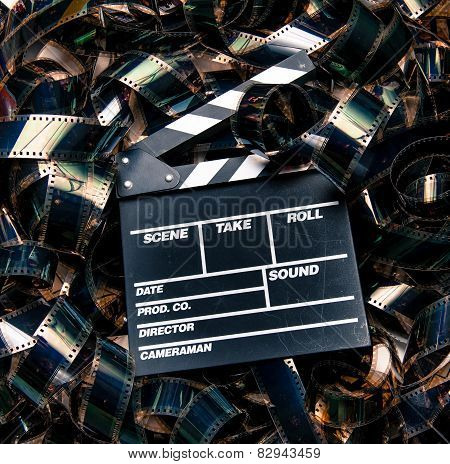 Unrolled Heap 35Mm Movie Filmstrip Color Carpet And Clapperboard