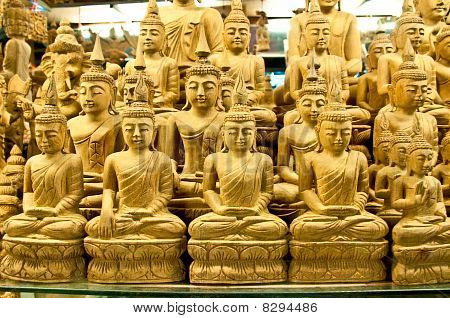 The Buddha Image In Thai Style Wood Carving