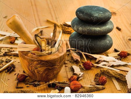 ingredients for a cup of tea in traditional chinese medicine. cure of diseases by alternative methods. poster