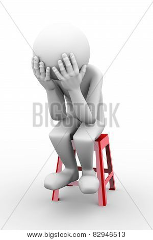 3D Sad Frustrated Man Illustration