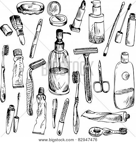 sketch of bathroom objects
