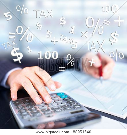 Hands of accountant businessman with calculator. Accounting background poster