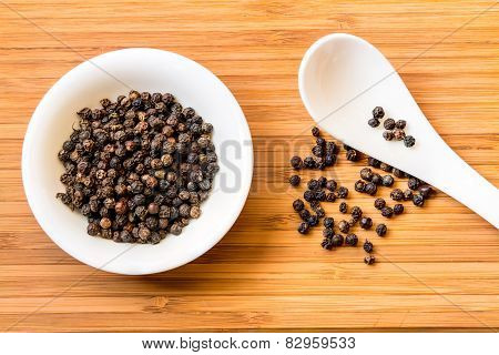 Black Pepper In White Dish