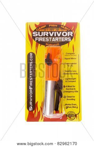 Hayward, CA - February 10, 2015: Survivor FireStarter brand TX Fire - illustrative editorial