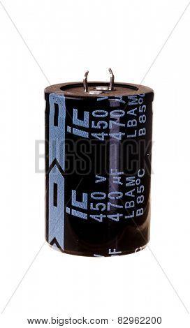 Hayward, CA - February 10, 2015: ic 470 microfarad 450 volt photo Flash electrolytic capacitor, isolated on white