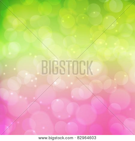 Spring bokeh background.  Green and pink colors.