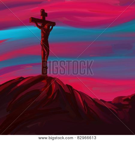 Jesus Christ Crucifiction vector illustration   painted
