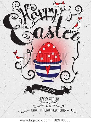 Happy Easter - Vintage typography illustration, hand drawn, with red Easter egg, birds, swirls and banner and freehand lettering
